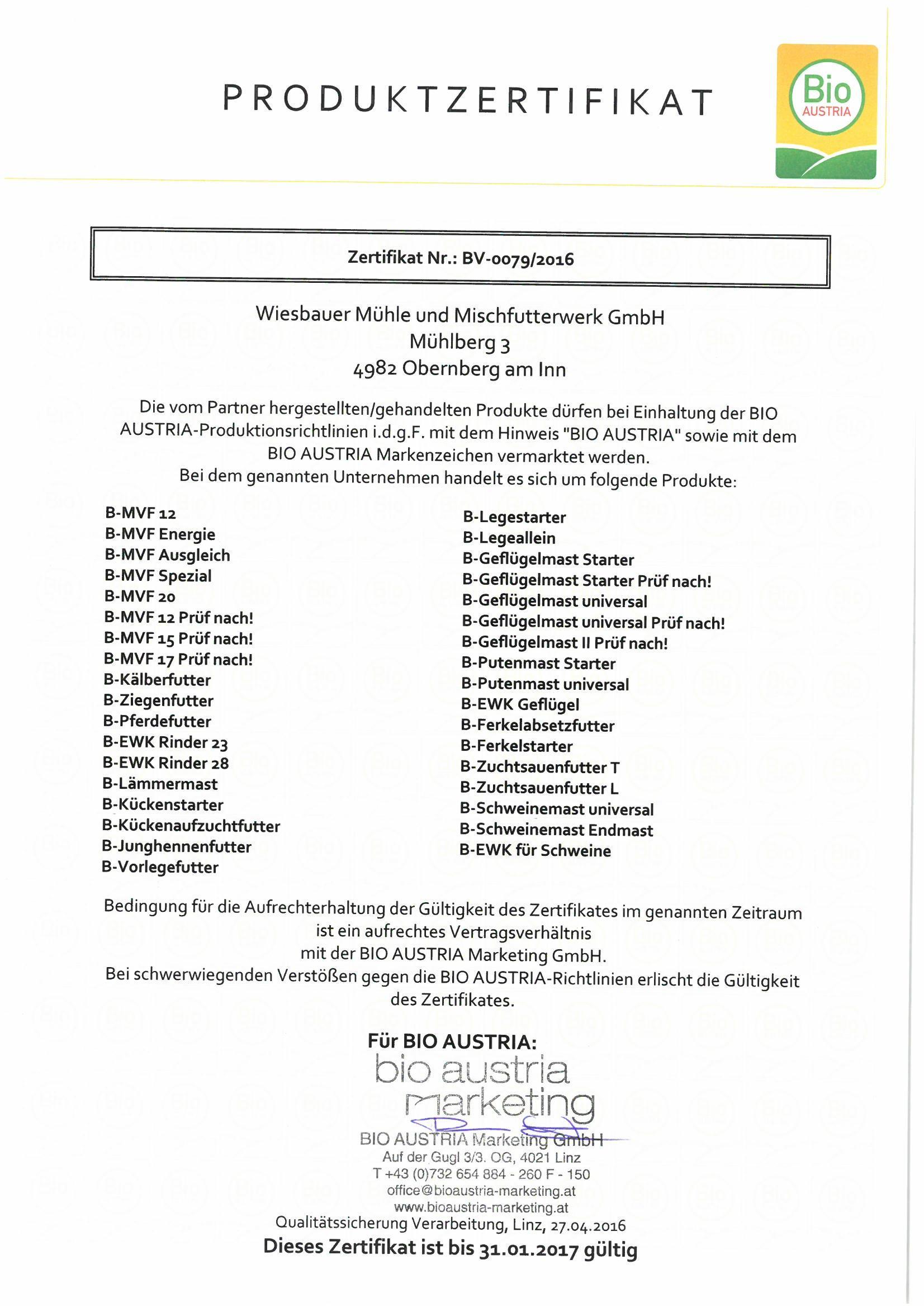 Bio Austria - Zertifikat