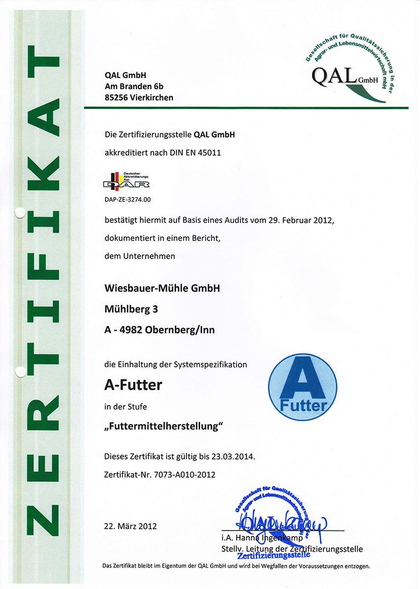 A-Futter - Zertifikat