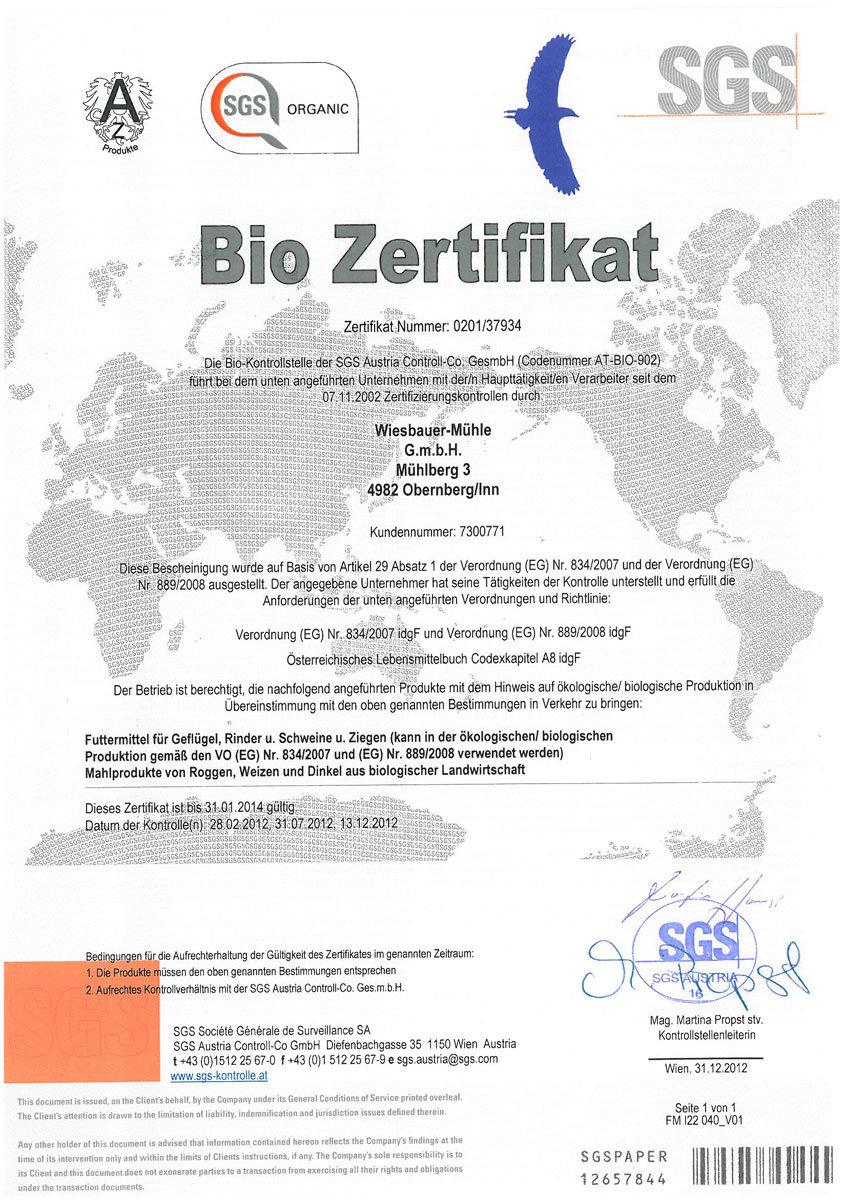 SGS - Zertifikat