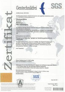 Gentechnikfrei - Zertifikat